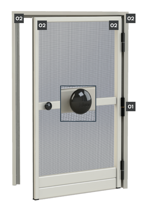SCREEN DOOR WITH HINGES