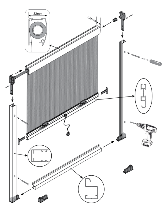 VERTICAL MOVEMENT SCREEN WITH FRAME 32mm